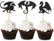 Unimall Global 24 Piece Dragon Cupcake Toppers