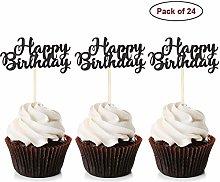 Unimall Global 24Pcs Black Glitter Happy Birthday