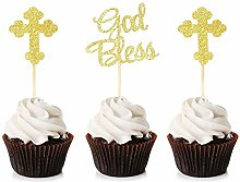 Unimall Global 24Pcs Sparkly God Bless and Baptism