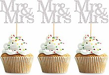 Unimall Global Pack of 24 Mr Mrs Cupcake Toppers