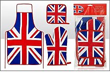Union Jack Apron, Oven Mitt and Pot Holder by