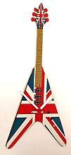 Union Jack Gibson Flying V Guitar Clock - Gibson