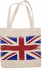 Union Jack Reusable Tote Jute Bag Canvas Shopping