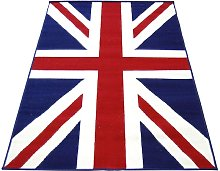 Union Jack Short Pile Rug - 120x170cm - Red & Blue