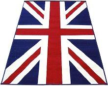 Union Jack Short Pile Rug - 230x160cm - Red & Blue