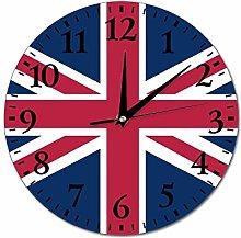 Union Jack Wall Clock Silent Non Ticking Round