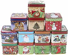 Unique WElinks 12Pcs Christmas Candy Tin Boxes