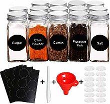 Uniqueen Spice Jars Set Glass Spice Jars Square