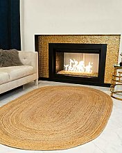 UNIQUSA HUB Braided Natural Color Jute Oval