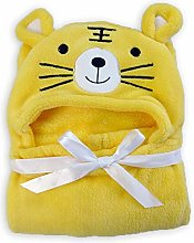 Unisex Baby Animal Face Hooded Towel, Soft Coral