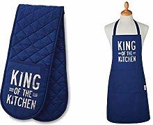 Unisex Chefs Apron & Double Oven Gloves Set