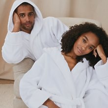Unisex Hydrocotton Hooded Robe, White, Small