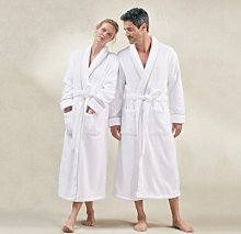 Unisex Hydrocotton Shawl Collar Robe, White Grey,