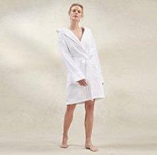 Unisex Hydrocotton Short Hooded Robe, White, Extra
