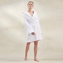 Unisex Hydrocotton Short Hooded Robe, White, Small