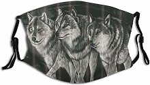 Unisex Mask Animal Three Wolf In The Night