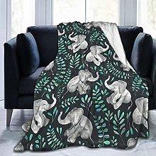 Unisex Sofa Blanket Laughing Baby Elephants Micro