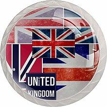 United Kingdom Flag Design Cabinet Door Knobs