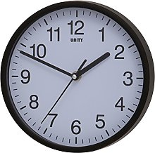 Unity Radcliffe Silent Sweep Wall Clock, Black,