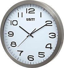 Unity UNSW240 Manhattan Metal Wall Clock, Silver,