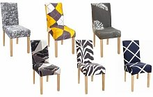 Universal Dining Chair Covers: Grey Leaves/Four