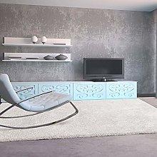 UNIVERSAL Living Room Rug Shaggy Aqua Smooth White