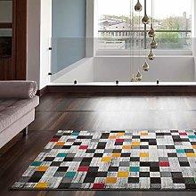 Universal Modern Chequered Mini Multicoloured Rug,