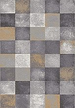 Universal Modern Geometric Amber Check Grey Rug,