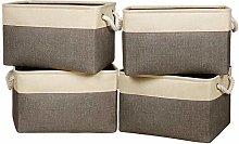 Univivi Canvas Storage Basket 4 Pack, Rectangle