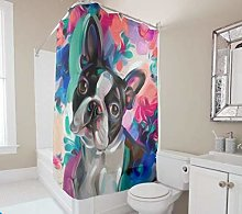 unknow Joy Boston Terrier colorful Shower Curtain
