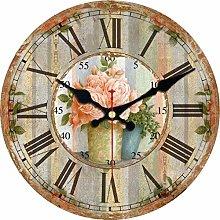 uobaysj Wall Clock Flower Vase Clocks Silent Home