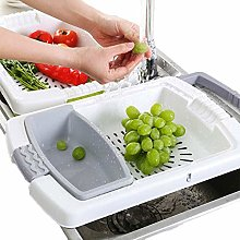 UPANV 3-In-1 Collapsible Basin Colander Cutting