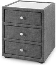 Upholstered 3 Drawer Bedside Table Grey Linen With