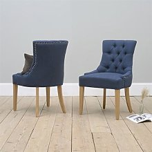 Upholstered Button Back Chair - Navy