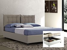 Upholstered double bed with container Lucrezia