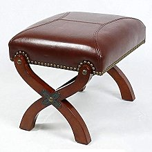 Upholstered Footstool Vintage Faux Leather Foot