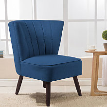 Upholstered Linen Cocktail Chair With Buttons, Blue