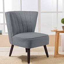 Upholstered Linen Cocktail Chair With Buttons, Grey