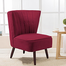 Upholstered Linen Cocktail Chair With Buttons,