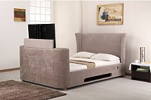 Upholstered TV Bed Ophelia & Co. Colour: Mink,