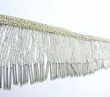 Upholstery Decorative White Beaded Fringe Ribbon