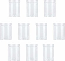 UPKOCH 10pcs Clear Plastic Wide Mouth Jars with