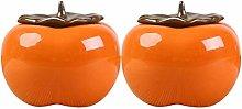UPKOCH 2pcs Ceramic Tea Canister Persimmon Shape