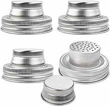 UPKOCH 2pcs Stainless Steel Jar Shaker Lids