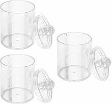 UPKOCH 3pcs Qtip Holder Dispenser Clear Plastic