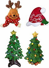 UPKOCH 4pcs Christmas Refrigerator Magnets Resin