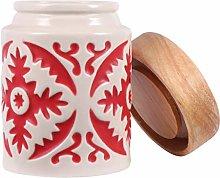 UPKOCH Ceramic Storage Jar Wood Lid Food Storage