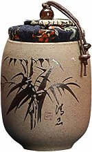 UPKOCH Chinese Ceramic Tea Canister Bamboo Pattern