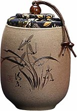UPKOCH Chinese Ceramic Tea Canister Orchid Pattern