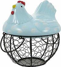 UPKOCH Metal Wire Egg Basket with Ceramic Farm